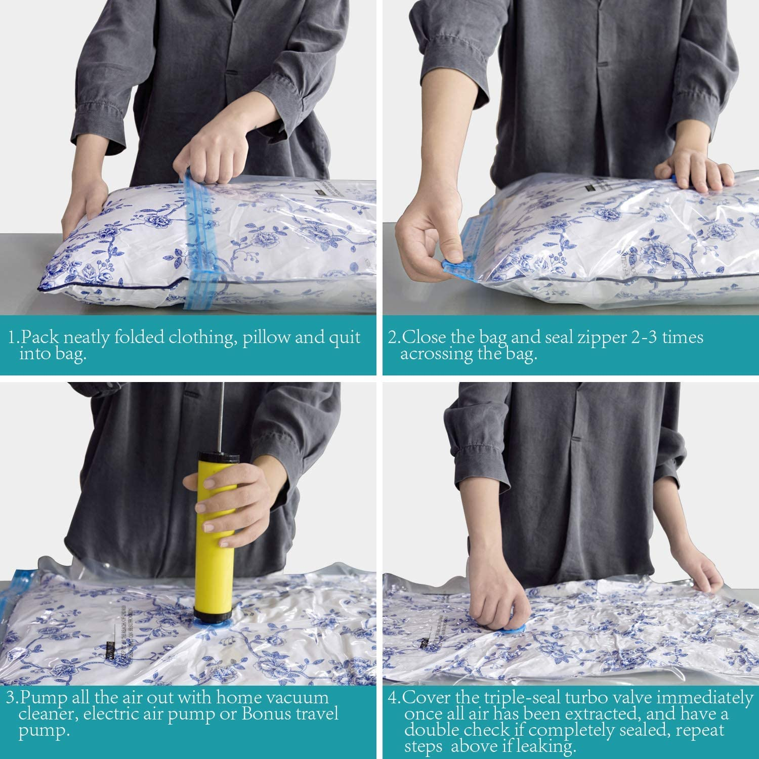 Hand Pump Included Space Saver Seal Bag 10 Jumbo AirBaker Vacuum Storage Bags for Travel Clothes Comforters Blankets Pillows