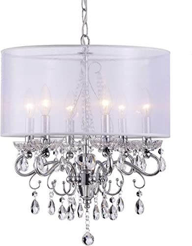 Allured Crystal Chandelier with Translucent Fabric Shade