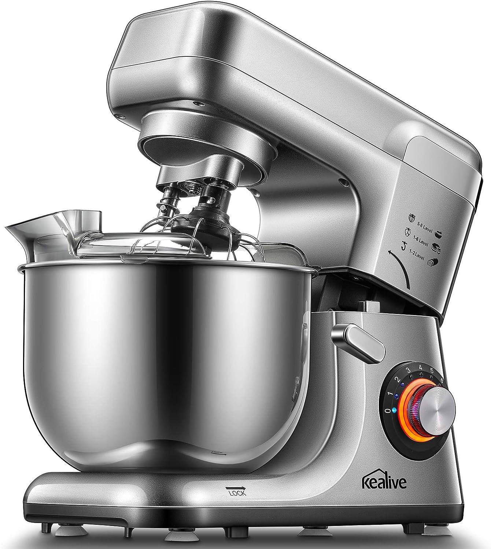 Kealive Batidora Amasadora, 1200W Profesional de 8 Velocidades, Robot de Cocina Automática Multifuncional con Dos Gancho Amasador, Recipiente de Acero Inoxidable de 5.5L