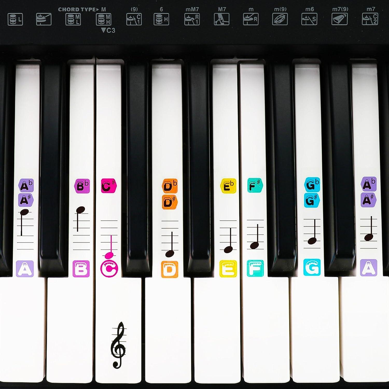 Pegatinas de piano BETENSE para 49/61 / 76/88 llaves, extraíbles y transparentes, con revestimiento de doble capa y pegatinas de teclado de color para ...