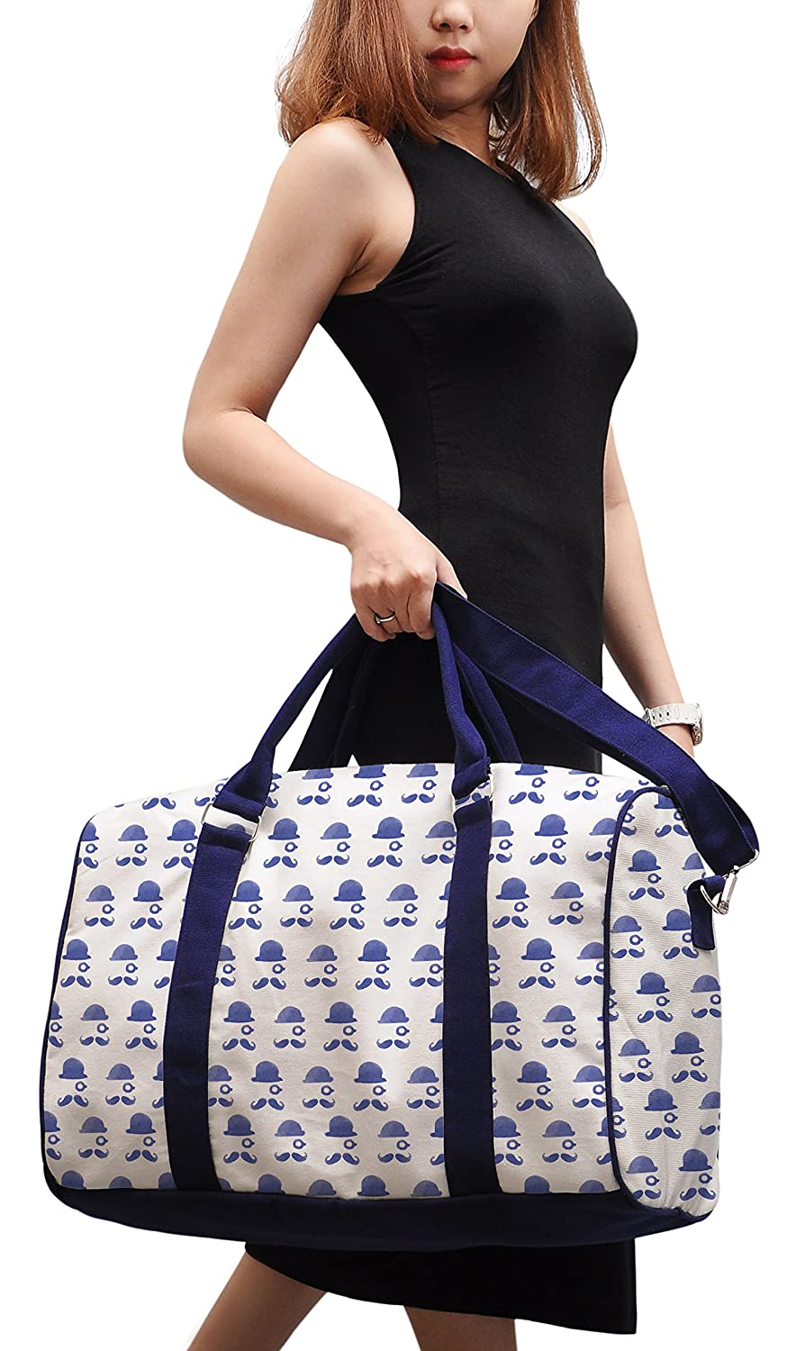 Mustache Men Printed Canvas Duffle Luggage Travel Bag WAS/_42