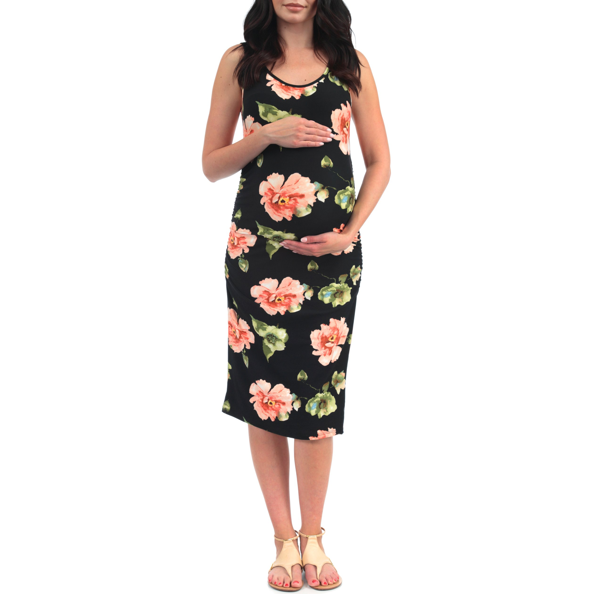 Women's Side Ruched Tank Maternity Dress - Made in USA (Medium, Tropical Black)