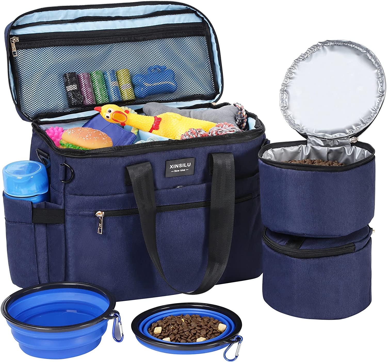 Xinsilu Dog Travel Bag, Pet Owner Multi-Use Dog Outdoor Bag, Include 2X Collapsible Dog Bowls, 2X Food Storage Containers, Airplane Approved, Perfect Weekend Pet Travel Set for Dog, Cat, Blue