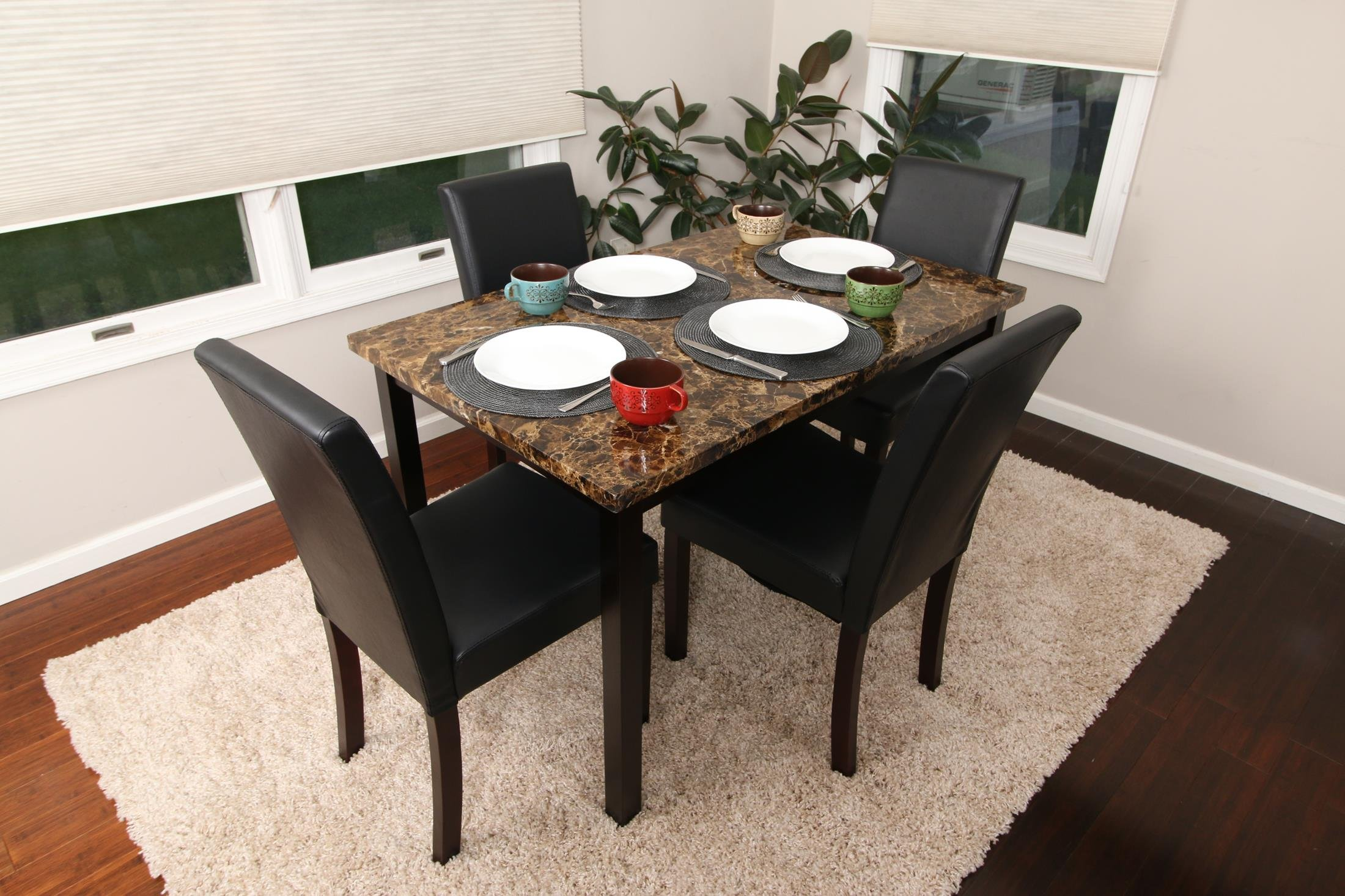 5 PC Thick Marble Black Leather 4 Person Table and Chairs Brown Dining Dinette - Black Parson Chair 150250 Black