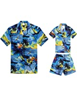 Hawaii Hangover Matching Father Son Hawaiian Luau Outfit Men Shirt Boy Shirt Shorts PW Blue Sunset