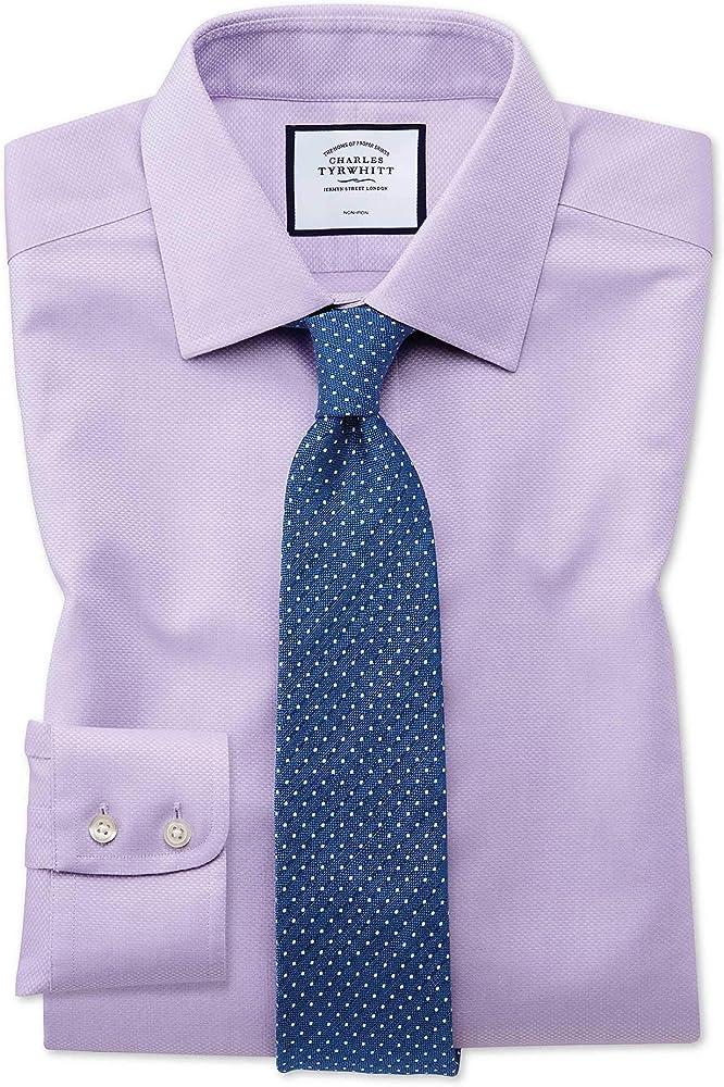 Charles Tyrwhitt Camisa sin Plancha Lila de Tejido Triangular Extra Slim fit sin Plancha: Amazon.es: Ropa y accesorios
