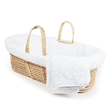 White Sleeping Partners MBSTTF009 Tadpoles Twisted Fur Moses Basket and Bedding Set