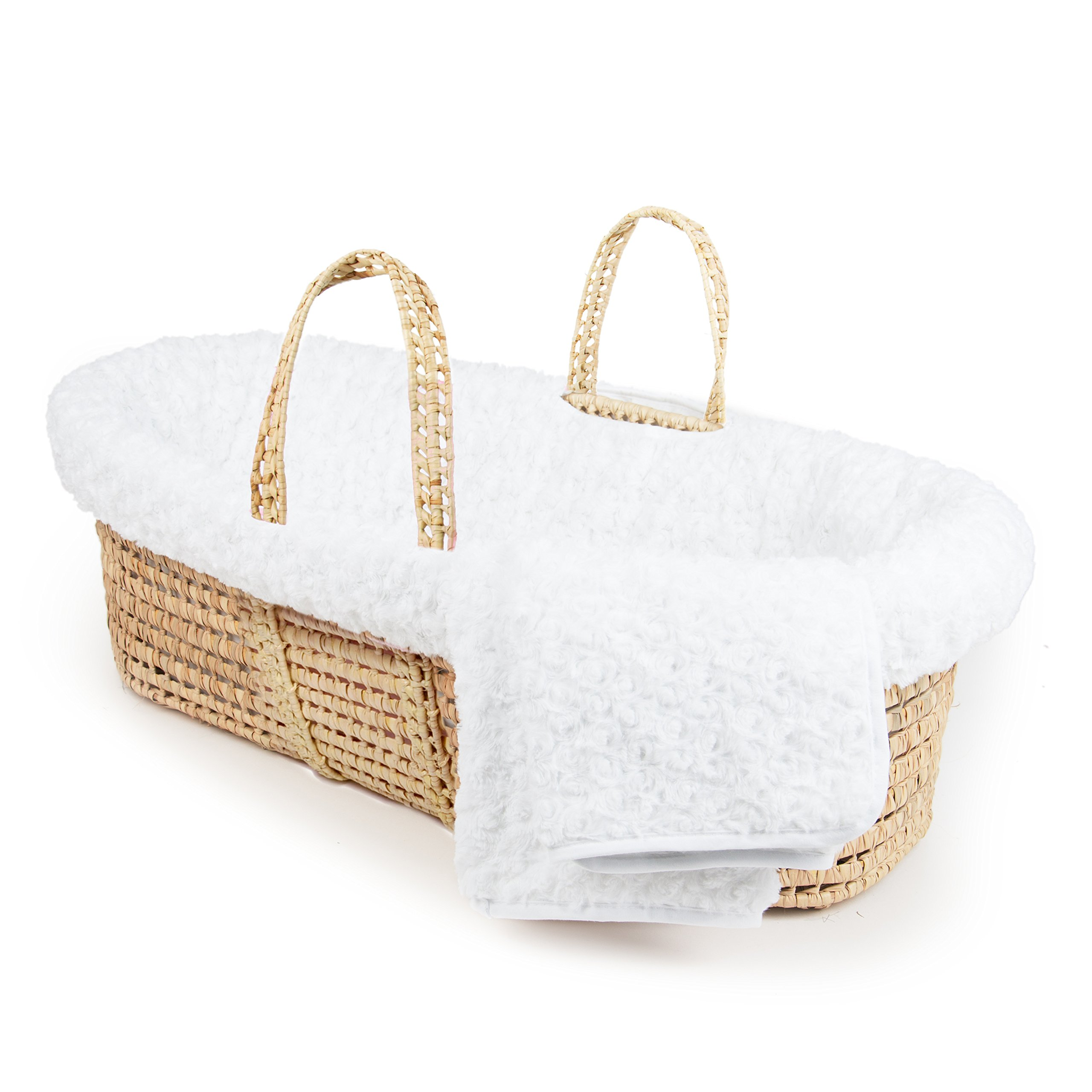 Tadpoles Twisted Fur Moses Basket and Bedding Set, White