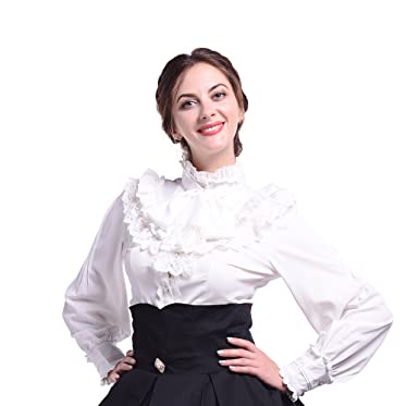 4ad6407728578 Amazon.com  Nuoqi Women Lolita Lace Stand-Up Collar Lotus Ruffle Shirt  Retro Victorian Blouse  Clothing