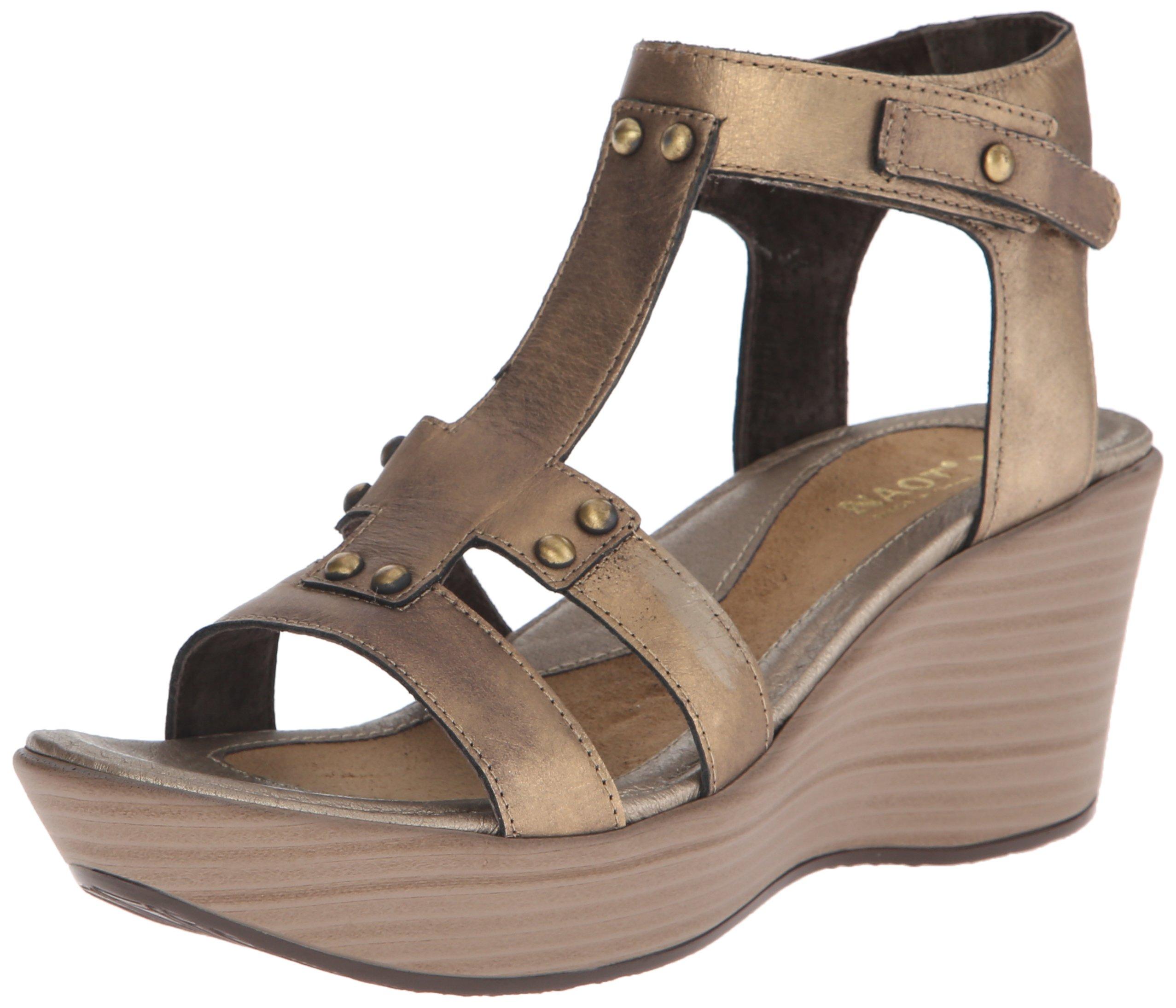 Naot Women's Flirt Wedge Sandal, Brass Leather, 40 EU/8.5-9 M US