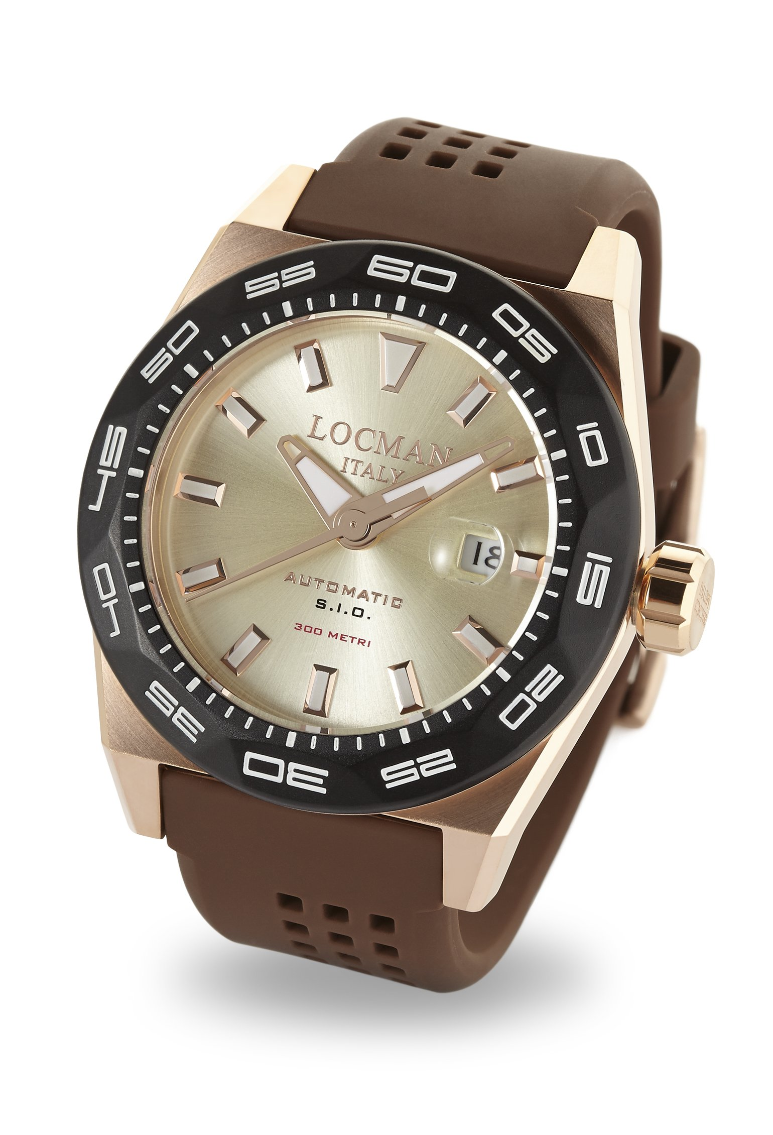 Locman Italy Men's 'Stealth 300 Metri' Automatic Steel-Two-Tone and Rubber Diving Watch, Color:Brown (Model: 0215V6-RKAV5NS2N) by Locman Italy