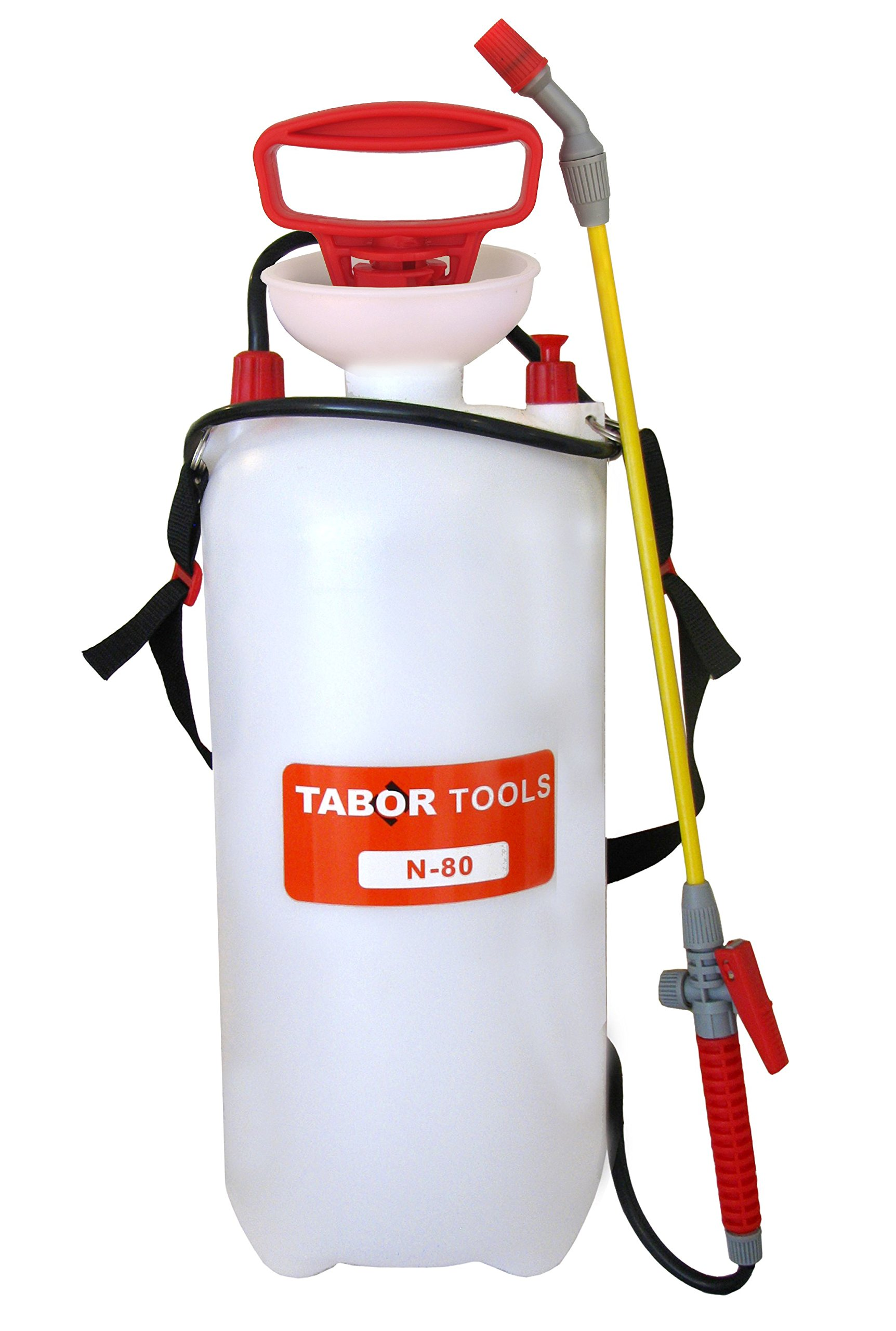 TABOR TOOLS Lawn and Garden Pump Pressure Sprayer for Herbicides, Fertilizers, Mild Cleaning Solutions and Bleach, Includes Shoulder Strap. N-80. (2.0 Gallon) by TABOR TOOLS