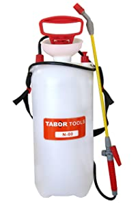 TABOR TOOLS Lawn and Garden Pump Pressure Sprayer for Herbicides, Fertilizers, Mild Cleaning Solutions and Bleach, Includes Shoulder Strap. N-80. (2.0 Gallon)