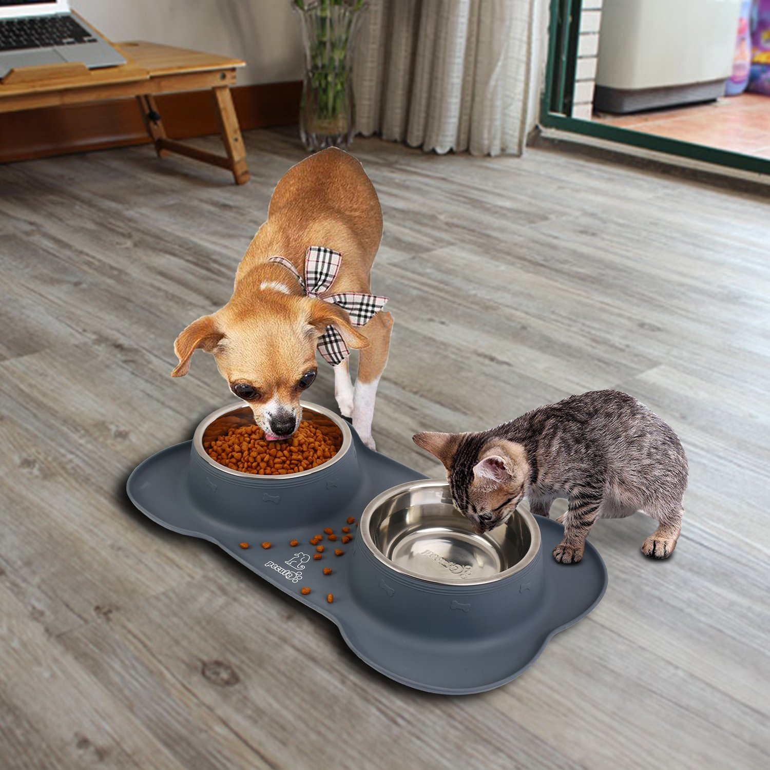 Pecute Dog Bowls, Pet Dog Food Dish with Spill Proof & Non-Skid Mat, Stainless Steel Double Dog Water Bowl for Small/Medium Dogs Cat,12oz
