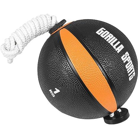 Gorilla Sports Tornado Pelota Balón Medicinal con Cuerda, en 1 kg ...