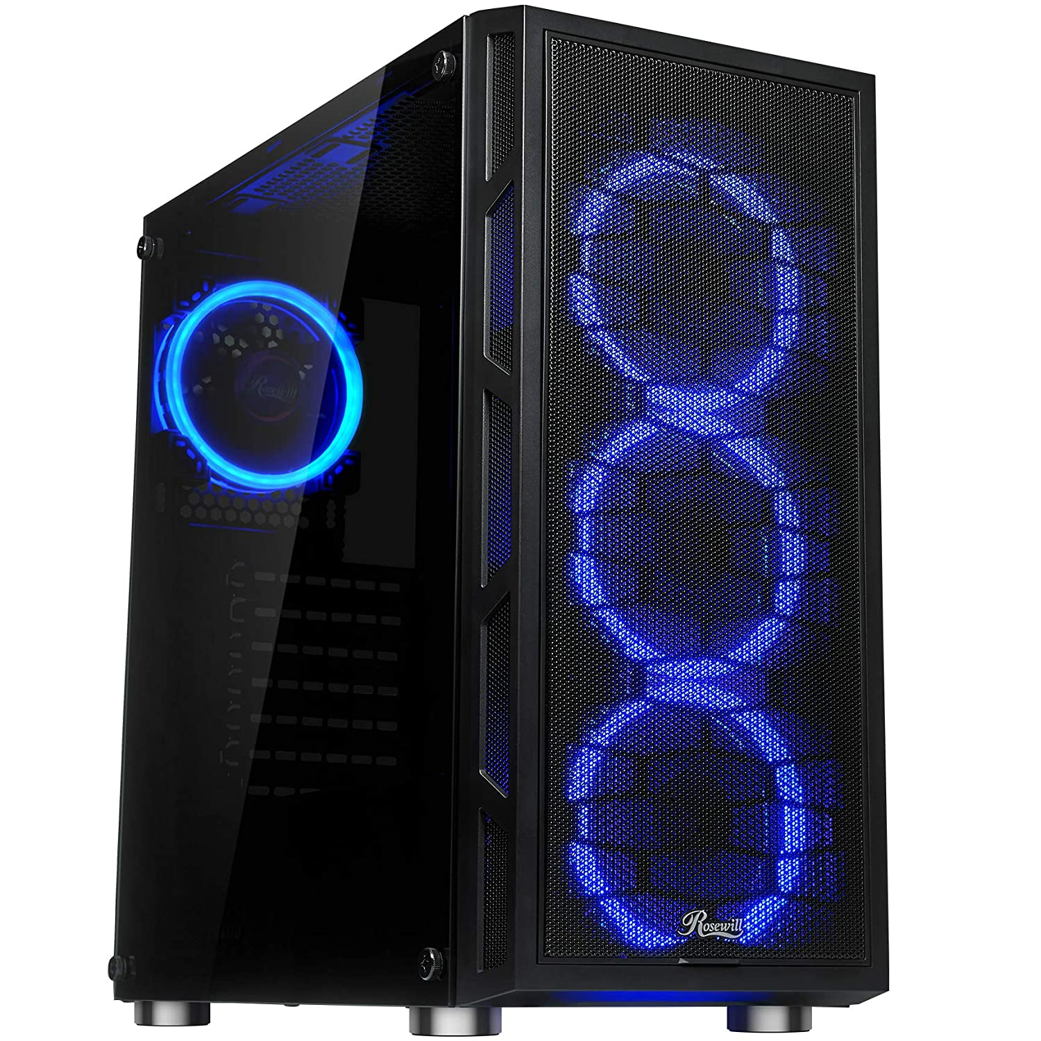 Rosewill ATX Mid Tower Gaming PC Computer Case with Dual Ring Blue LED Fans, 360mm Water Cooling Radiator Support, Tempered Glass and Steel, USB 3.0 - Spectra C100
