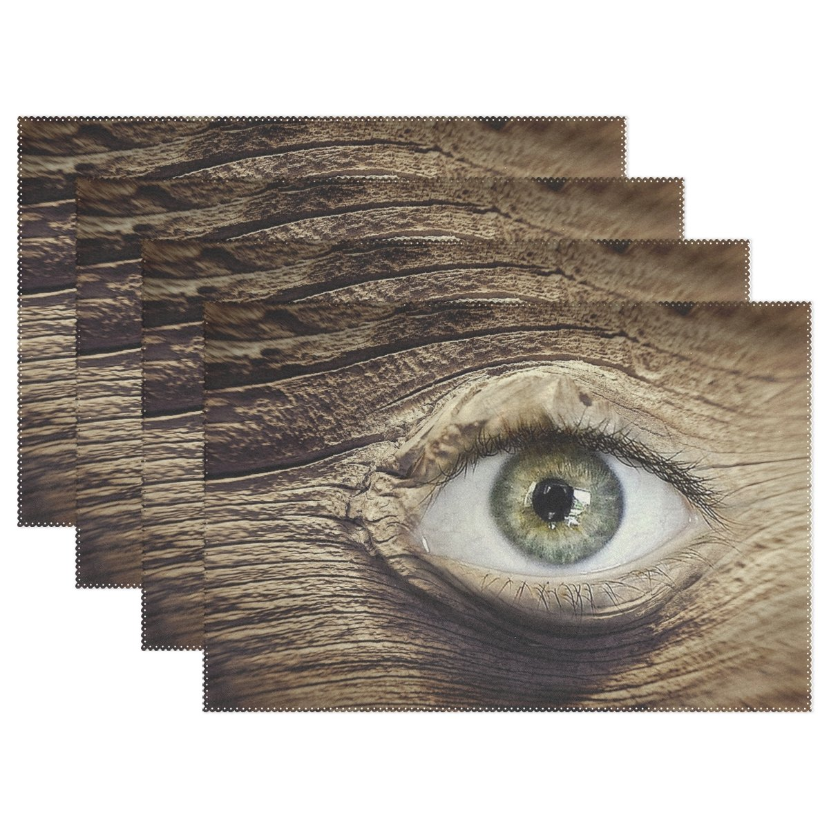 WIEDLKL Eye Wood Knothole Wood Eye Brown Wooden Structure Placemats Set Of 4 Heat Insulation Stain Resistant For Dining Table Durable Non-slip Kitchen Table Place Mats