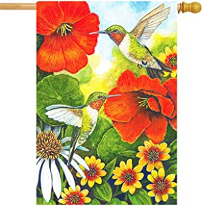 Wamika Hummingbird Hibiscus Daisy Flowers House Flag 28 x 40 Double Sided Hello Spring Birds Flowers Leaves Garden Yard Flags Welcome Spring Summer Outdoor Indoor Banner for Home Decorations
