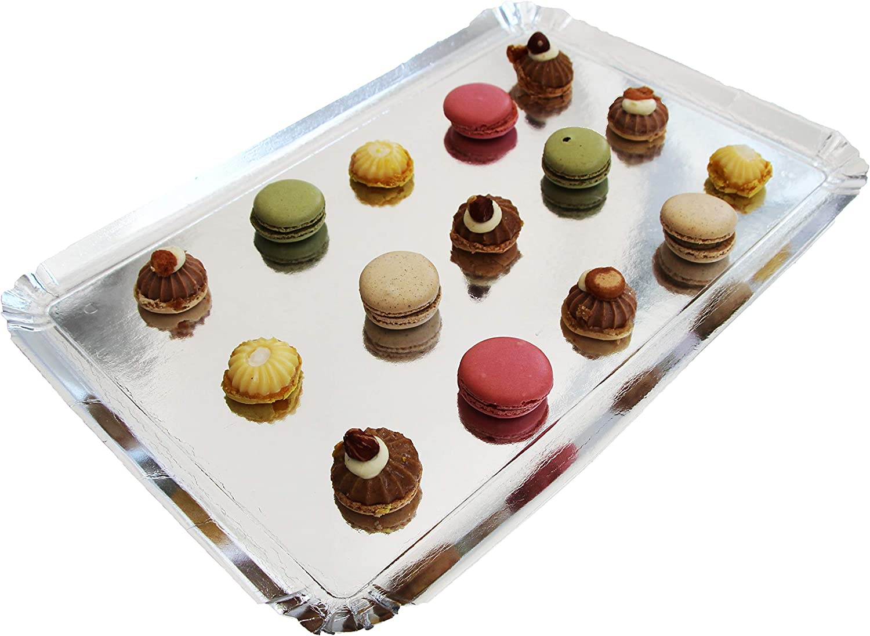 Negro Pack de 25 bandejas de cart/ón bandejas de presentaci/ón para pasteler/ía o buffet fr/ío 25 x 34 cm Extiff
