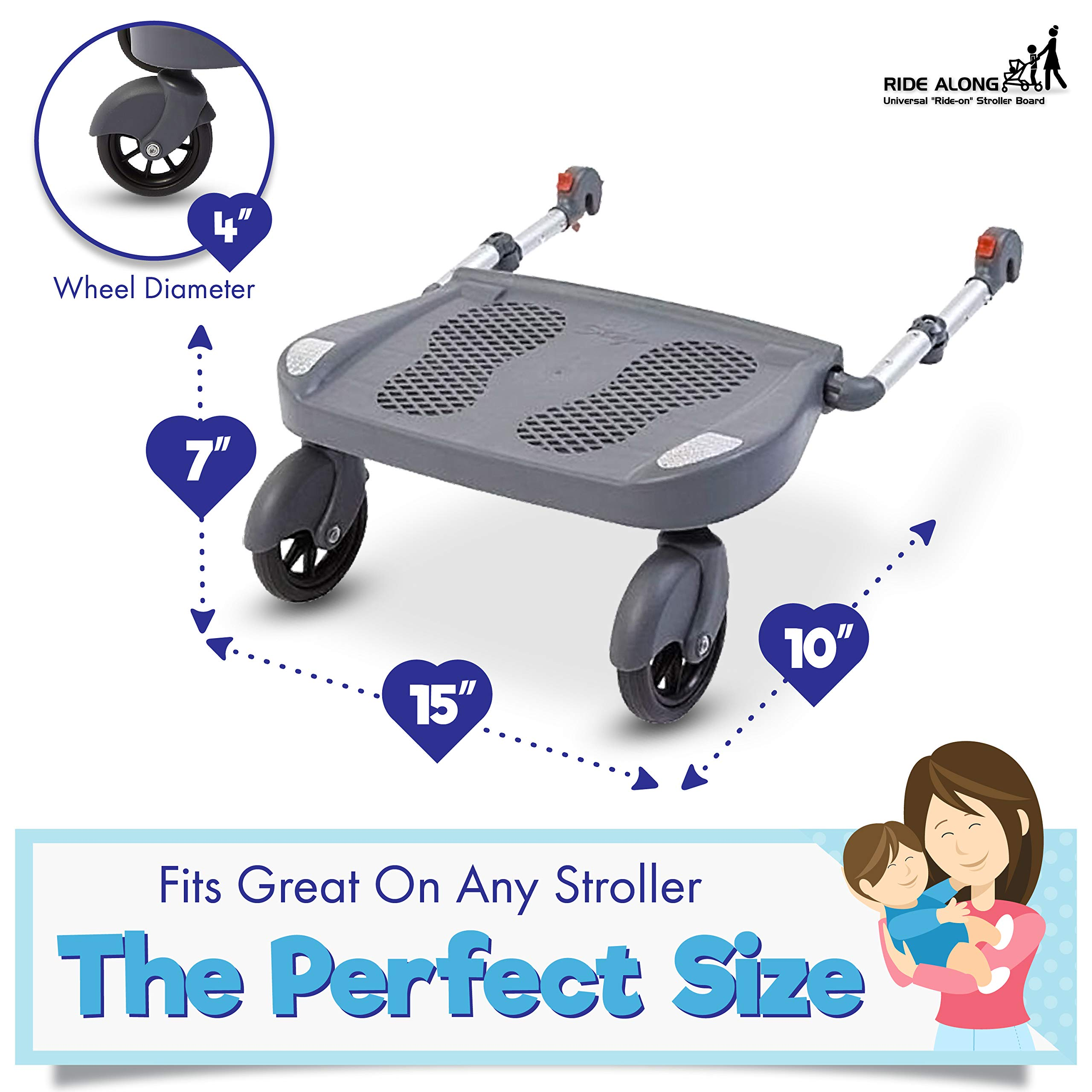 Ride Along - Universal Mount Ride-On Stroller Board Toddler Bump-Free Anti-Slip Buggy Stand by EZ step (Image #7)