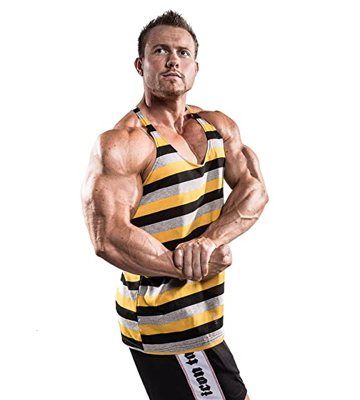 d26b2015378e5 Amazon.com  Iron Tanks Tri Stringer Gym Singlet Yellow - Bodybuilding Fitness  Mens Workout Shirt Tank Top 100% Cotton  Clothing