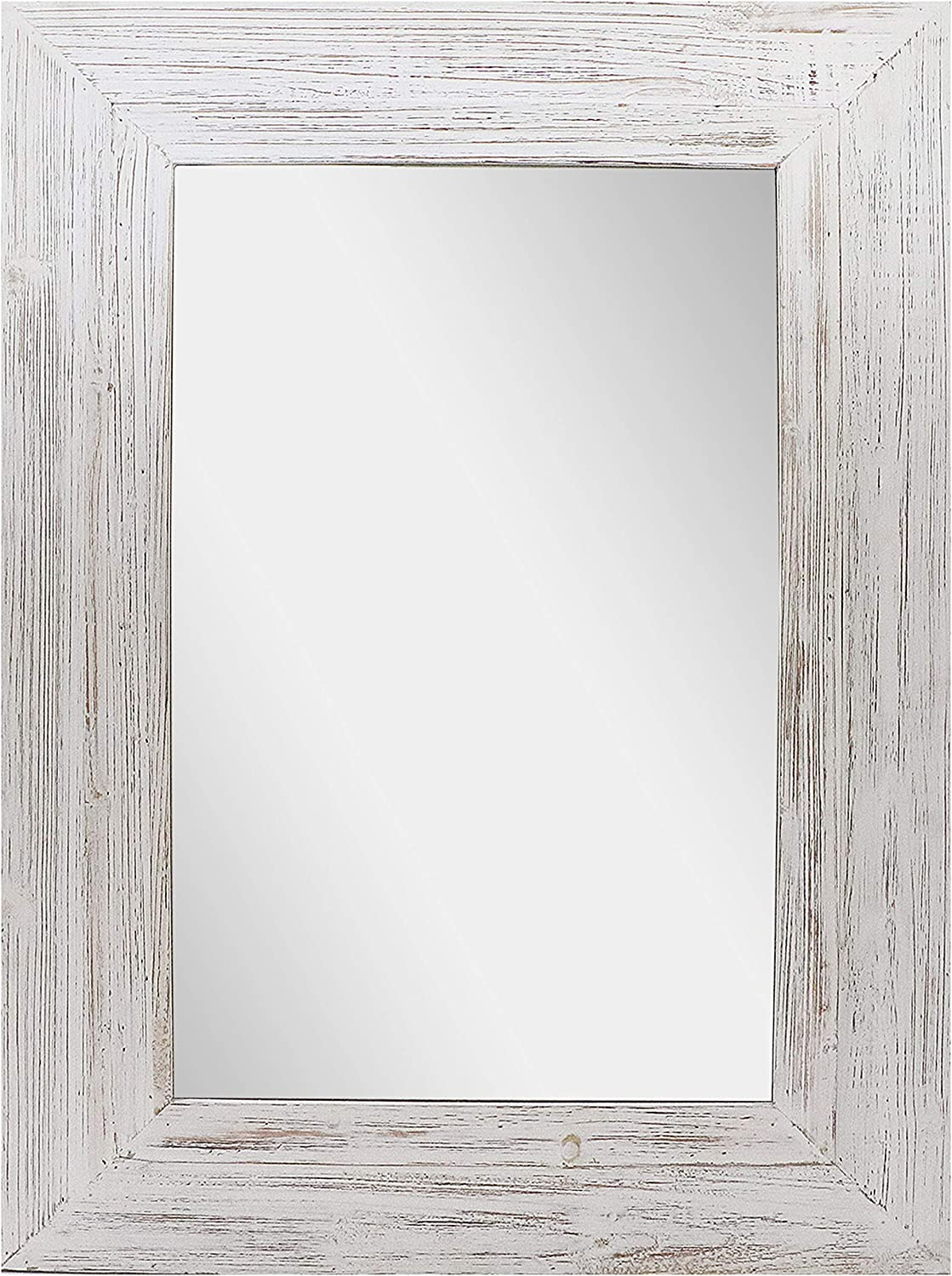 "Barnyard Designs Decorative Whitewashed Wood Frame Wall Mirror, Large Rustic Farmhouse Mirror Decor, Vertical or Horizontal Hanging, for Bathroom Vanity, Living Room or Bedroom, 32"" x 24"""