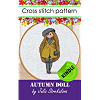Cross stitch pattern design with Autumn Doll + basic tutorial. Embroidery designs only in pdf Kindle format, bookmarks…