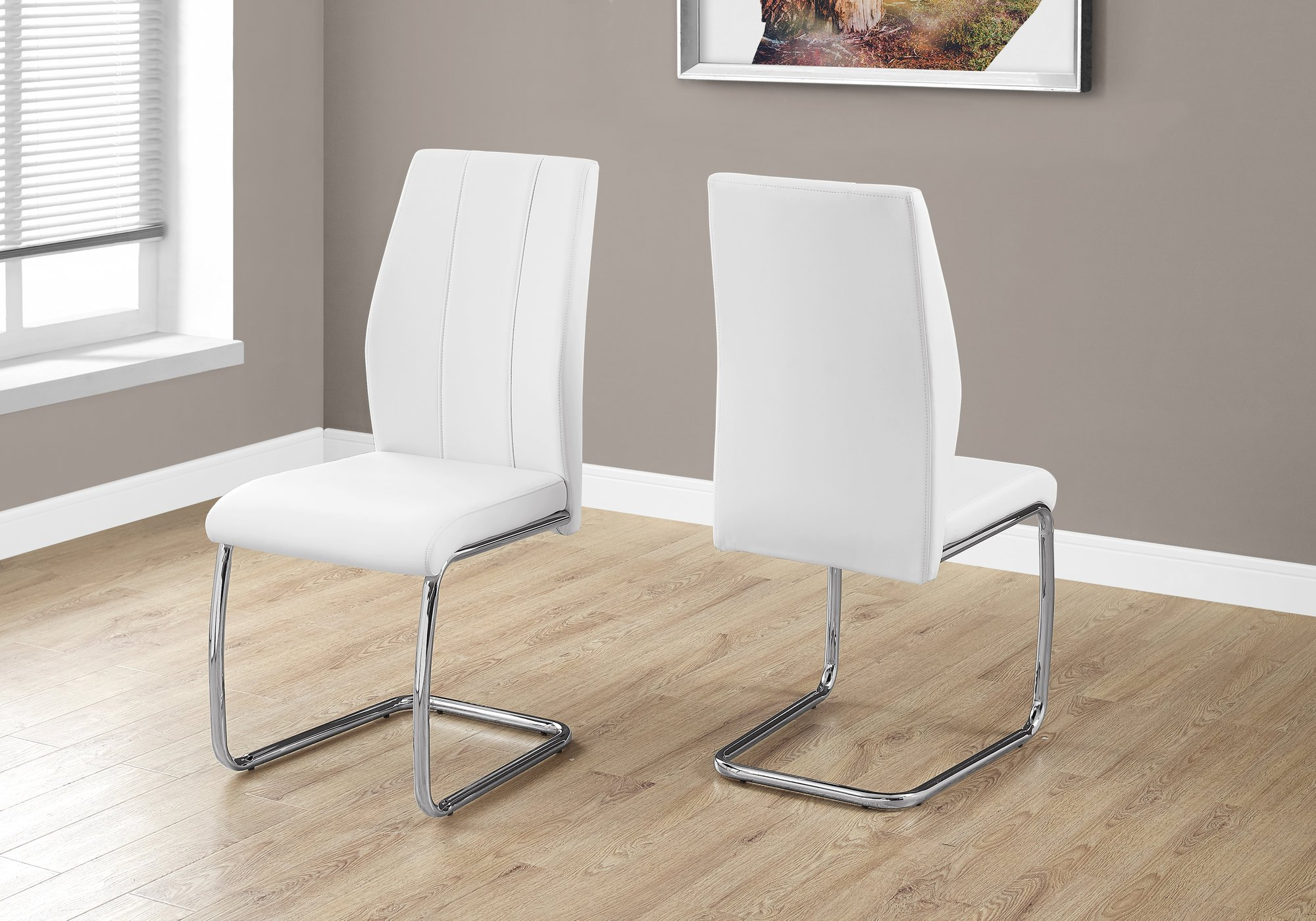 Monarch Specialties I I 1075 2 Piece Dining CHAIR-2PCS/ 39'' Leather-Look/Chrome, 17.25'' L x 20.25'' D x 38.75'' H, White by Monarch Specialties