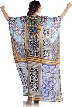 Beautiful womans one piece jewelled full length resort wear beach coverup kaftan dress gorgeous  silk kaftan evening maxi gown 167