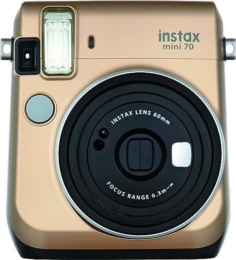 Oferta amazon: Fujifilm Instax Mini 70 - Cámara analógica instantánea (ISO 800, 0.37x, 60 mm, 1:12.7, flash automático, modo autorretrato, exposición automática, temporizador, modo macro), dorado polvo de estrellas