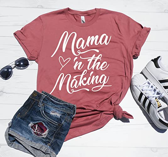 ede1539dc79ac4 Amazon.com: Mama In The Making, Cute Pregnancy Announcement Shirt, Pregnancy  Reveal Shirts, Im Pregnant Shirt, IVF Shirt, Maternity Tee, Preggers:  Handmade