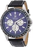TP Time Piece High Tech Chrono TPGA-20109-31L - Reloj cronógrafo de cuarzo para hombre, correa de cuero color negro (cronómetro, agujas luminiscentes)