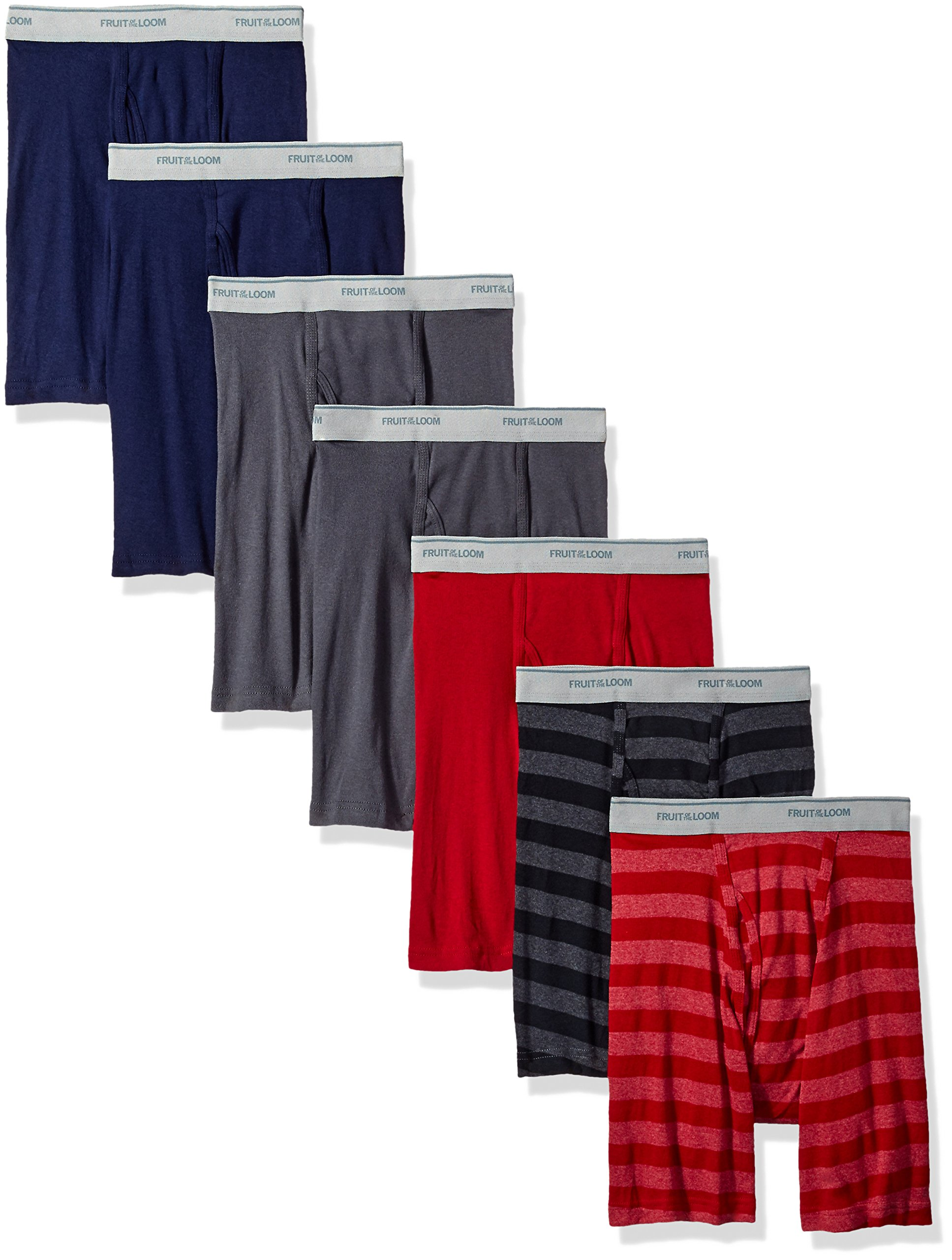 Fruit of the Loom Men's Boxer Brief (Pack of 7), Assorted - Blues, Grays, Reds, Medium