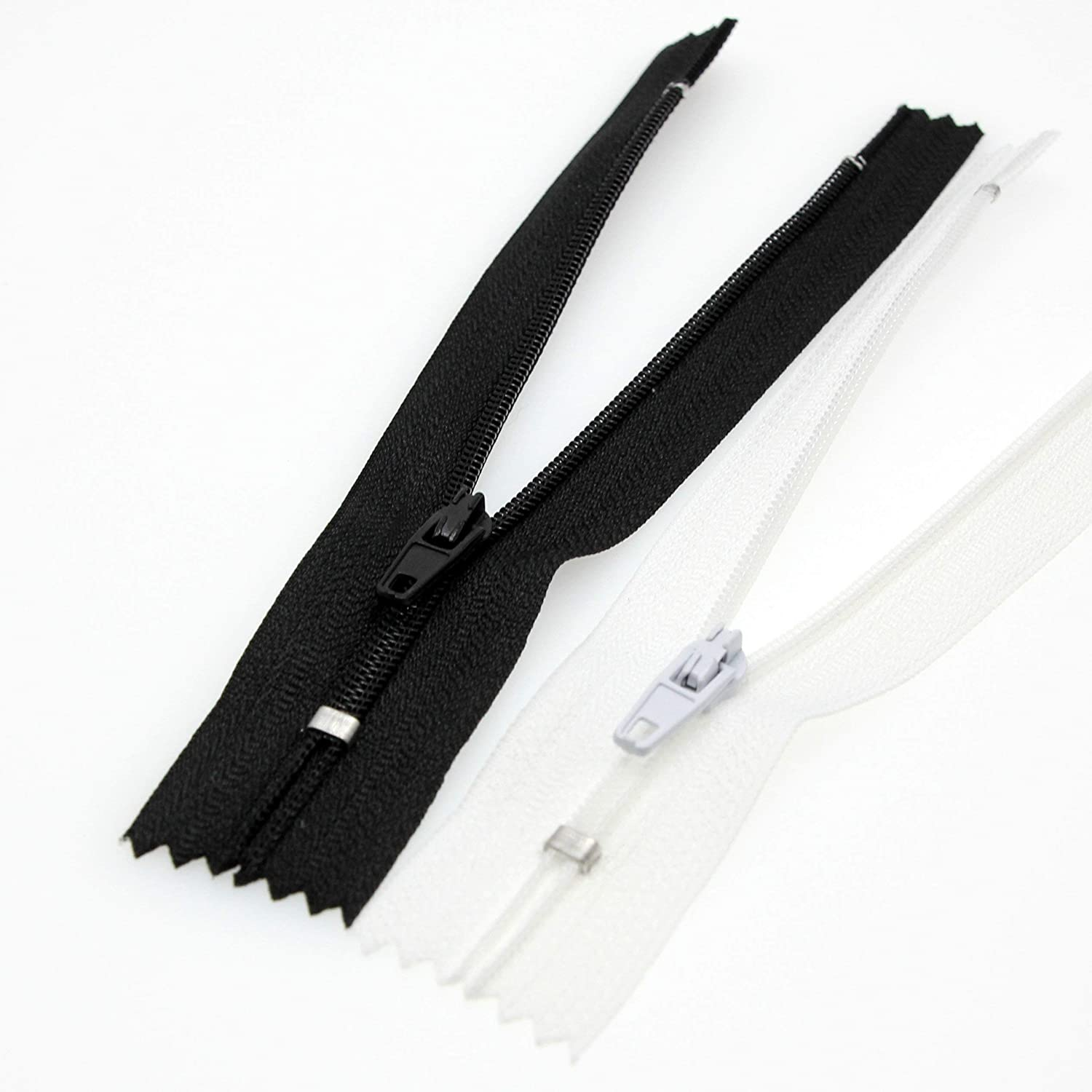 12 Nylon Coil Zippers,3# Zipper for DIY Tailor Sewing Craft 10 PCS//Pack Leekayer Black/&White,12 inch