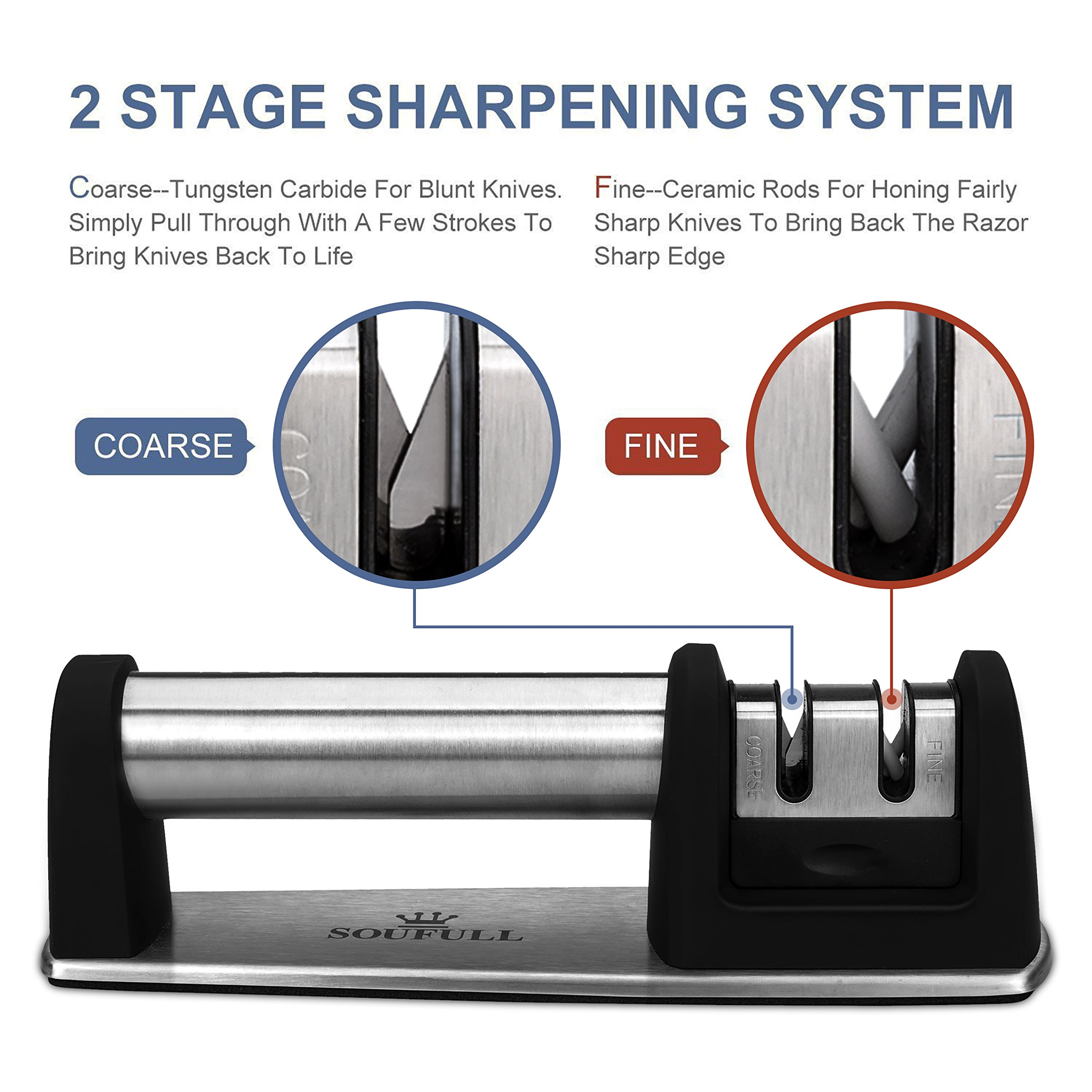 Professional Knife Sharpener- Soufull 2 Stage Diamond Coated Sharpening with Ceramic Rod - Non-slip Base Sharpening Knife Easy to Control -Knife Sharpening by Soufull (Image #4)