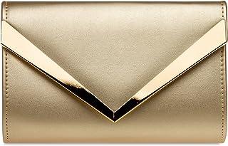 Caspar TA353 Damen Envelope Clutch mit stylischem Metalldekor
