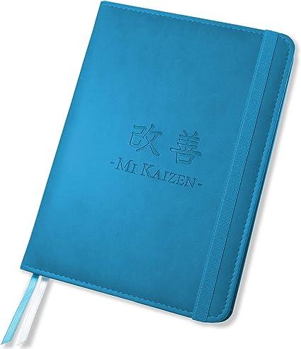 Mi Kaizen - Agenda sin fecha, Planificador mensual y organizador semanal, Seguimiento de objetivos anual y Bullet journal - Planner hecha en España (Agua): Amazon.es: Oficina y papelería