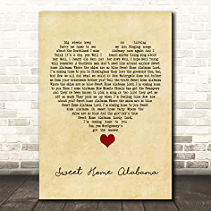 Sweet Home Alabama Vintage Heart Song Lyric Quote Music Print
