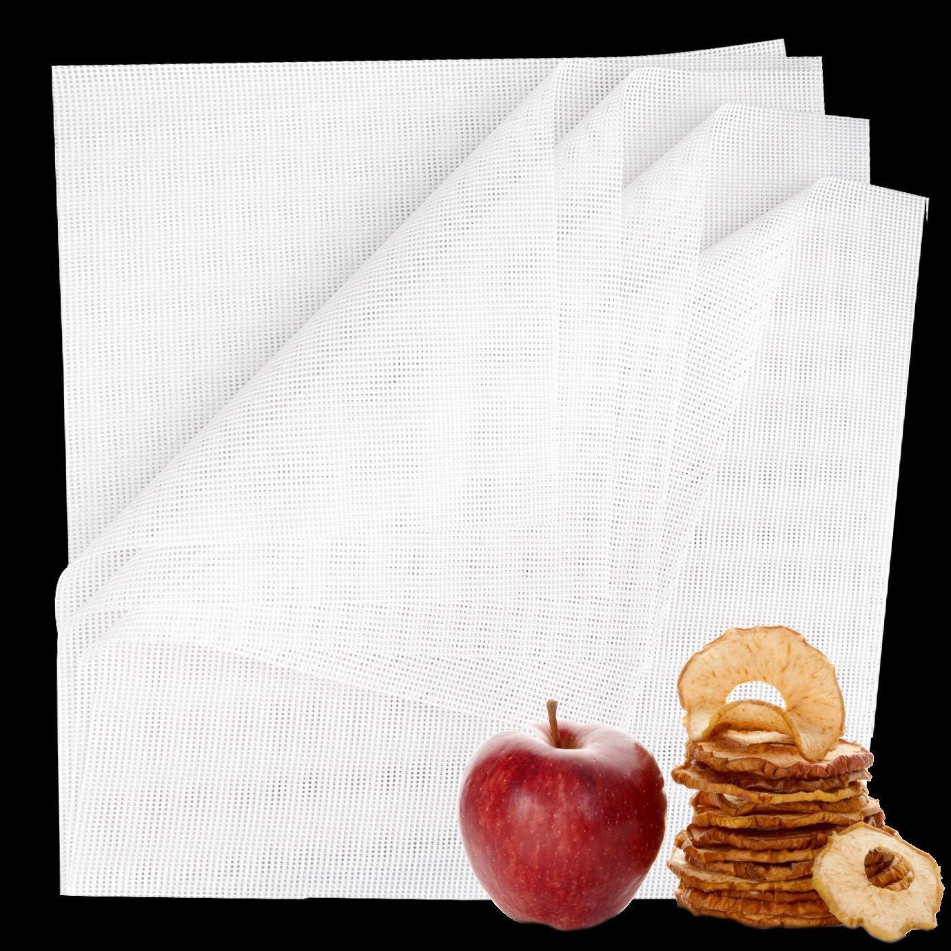 WXJ13 6 PCS Dehydrator Sheets, 14 x14 Inch Non-Stick Silicone Dehydration Sheet for Fruit Dryer Baking Mat, Reusable