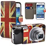 32nd Design book wallet PU leather case cover for Samsung Galaxy S4 Zoom C1010 + screen protector and cleaning cloth - Union Jack UK Flag
