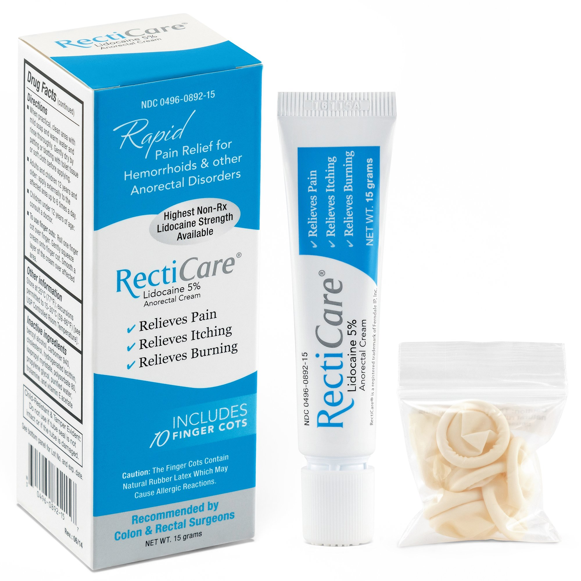 RectiCare Anorectal Lidocaine 5% Cream: Treatment for Hemorrhoids & Other Anorectal Disorders - 15g Tube