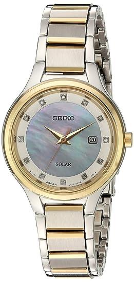 Seiko De Las Mujeres dial de Diamante Vestido de Cuarzo Reloj Casual Acero Inoxidable,