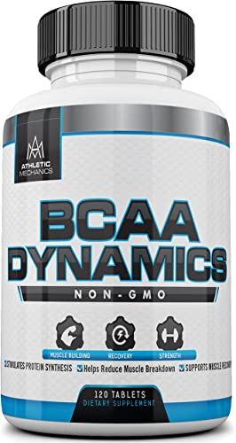 Athletic Mechanics – BCAA Dynamics – Non-GMO Branched Chain Amino Acids – 3000mg – Optimal Ratio of 2 1 1 – Build Muscles, Enhances Recovery, Reduces Muscle Breakdown, Supports Muscle Recovery