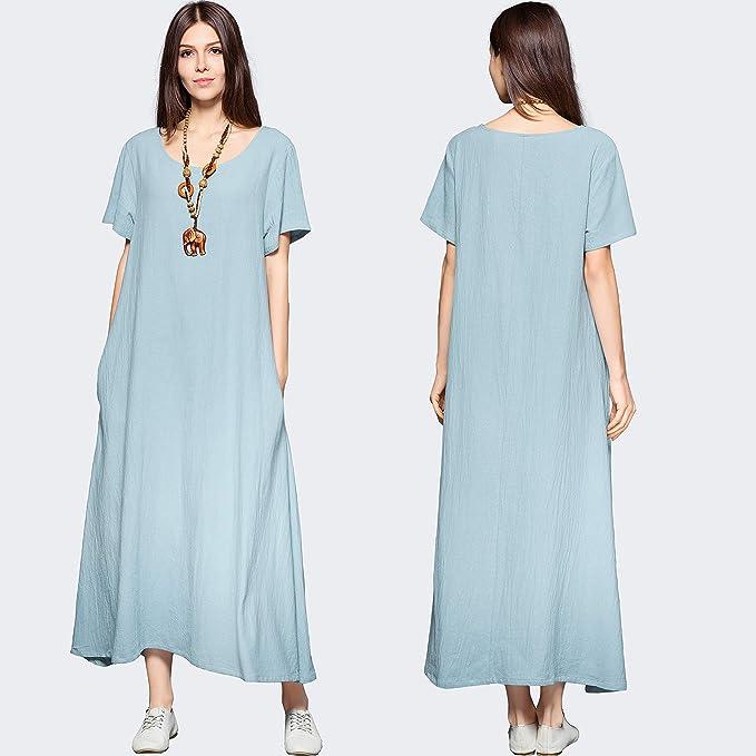 舒适潇洒!纯天然棉麻宽松连衣裙,好多颜色可选