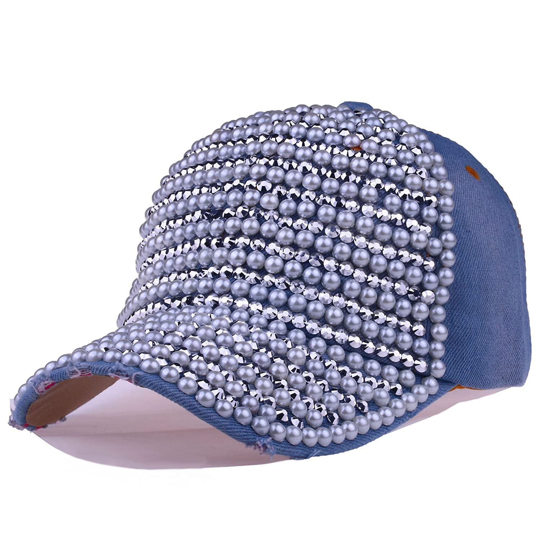 Deer Mum Women Casual Denim Jean Campagne Bling Baseball Cap(All Patterns)  (Color  Y-Light Blue) 37d95a7897e