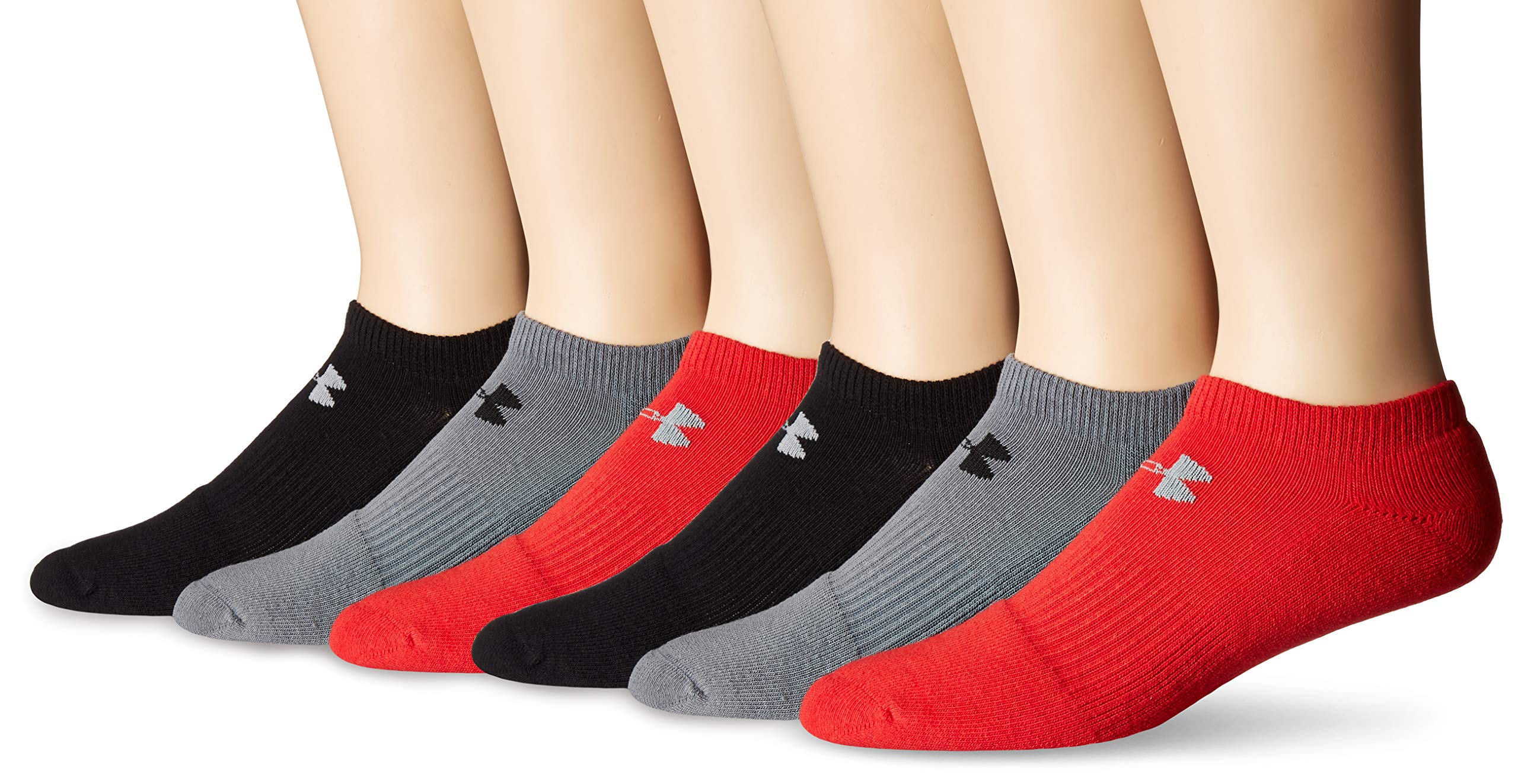 Under Armour Charged Cotton 2.0 No Show Socks, 6-Pair, Red Assorted, Shoe Size: 8-12