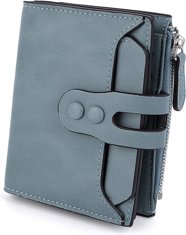 UTO Womens Wallet RFID Blocking PU Leather Bifold Snap Card Holder Money Coins Organizer Purse