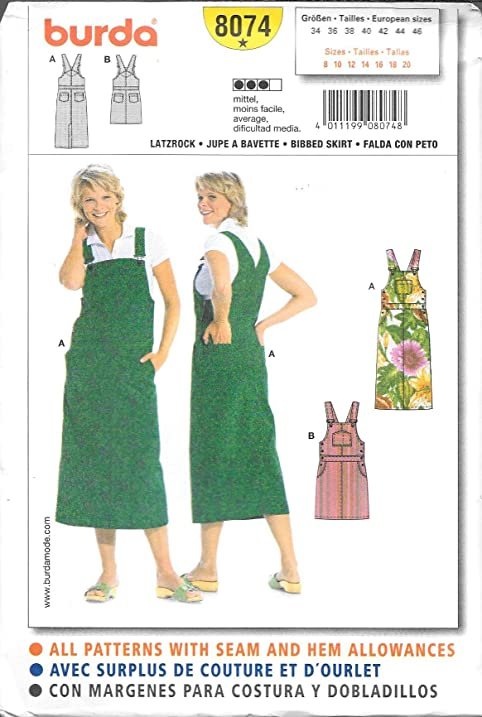 Amazon.com: Burda Sewing Pattern 8074Sizes 8-20 Jumper & Bibbed ...