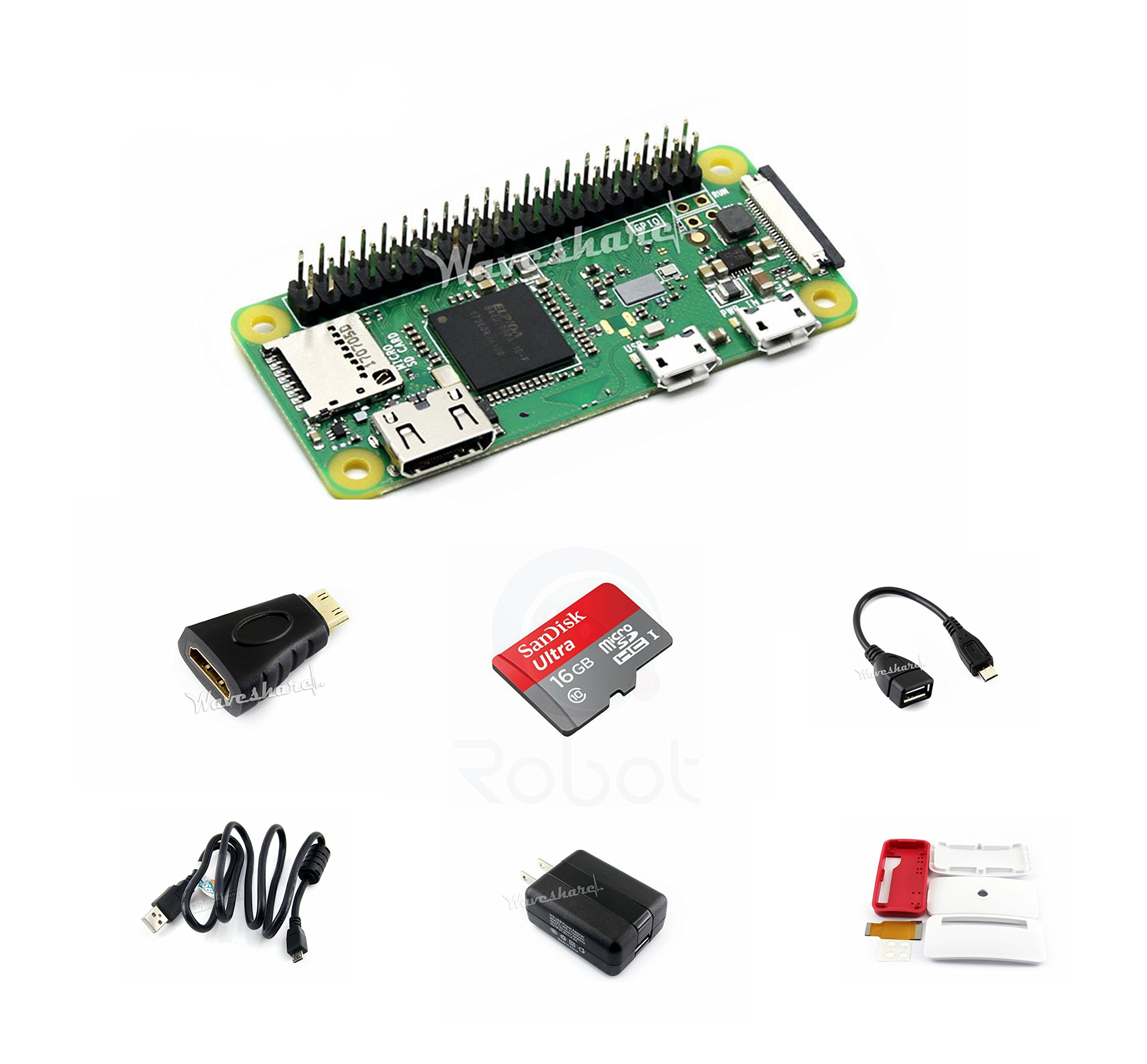 CQRobot Kit B with Official Case for Raspberry Pi Zero WH, Includes: Raspberry Pi Zero WH (Built-in WiFi) Micro SD Card, Power Adapter, Mini HDMI to HDMI Adapter, Micro USB OTG Cable and Components.