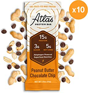 Atlas Protein Bar - Keto Friendly, Peanut Butter Chocolate Chip — Grass Fed Whey, Low Sugar, Clean Ingredients, Gluten Free, Soy Free, and GMO Free - (10-Pack)